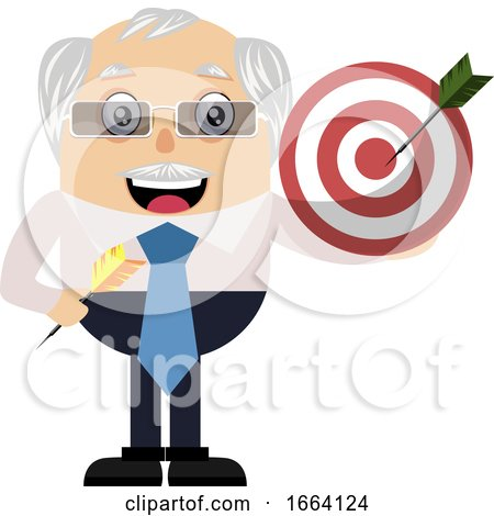 Old Business Man Holding Target by Morphart Creations