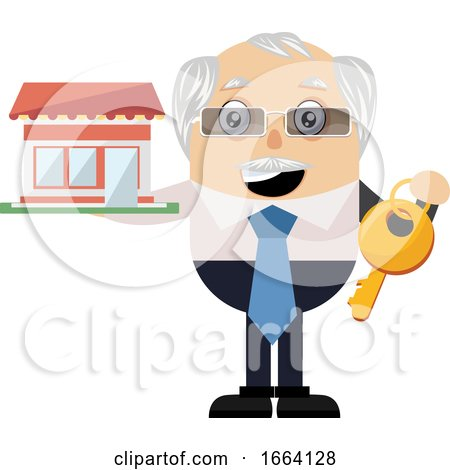 Old Business Man with Big Key by Morphart Creations