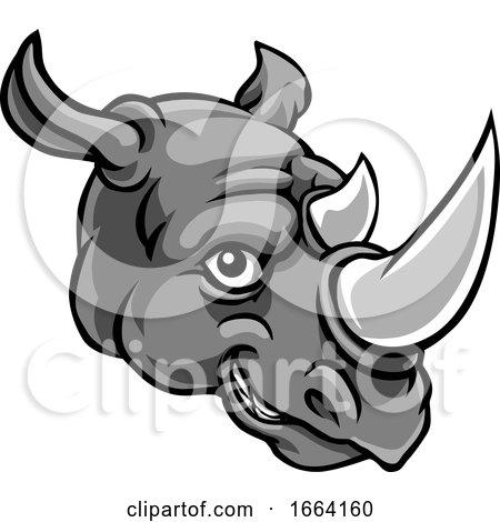 Rhino Mascot Cute Happy Cartoon Character by AtStockIllustration
