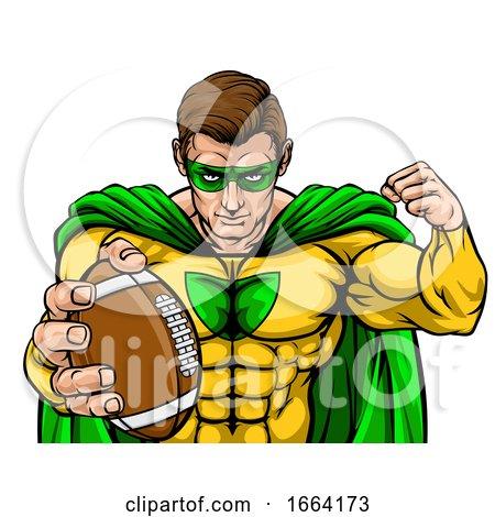 Superhero Holding Football Ball Sports Mascot by AtStockIllustration