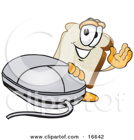 Clipart Picture of a Slice of White Bread Food Mascot Cartoon Character Waving and Standing by a Computer Mouse by Toons4Biz