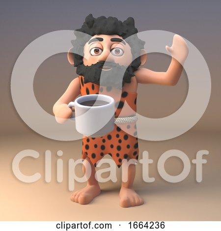 3d Funny Caveman Cartoon Character Drinking a Cup of Tea or Coffee, 3d Illustration Posters, Art Prints