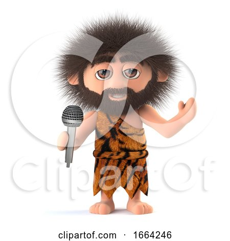 3d Funny Cartoon Primitive Caveman Character Singing into a Microphone by Steve Young