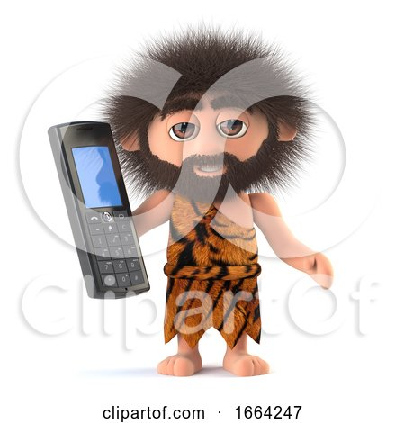 3d Funny Cartoon Primitive Caveman Character Holding a Mobile Phone by Steve Young