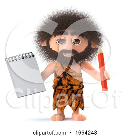 3d Funny Cartoon Primitive Caveman Character Holding a Notepad and Pencil by Steve Young