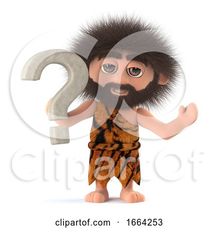3d Funny Cartoon Caveman Character Has a Question by Steve Young