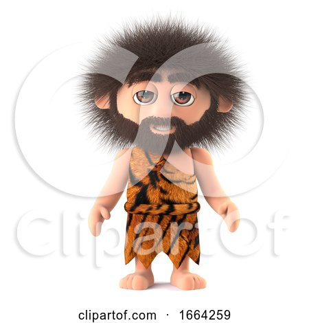 3d Funny Cartoon Caveman Character Has Crazy Hair by Steve Young