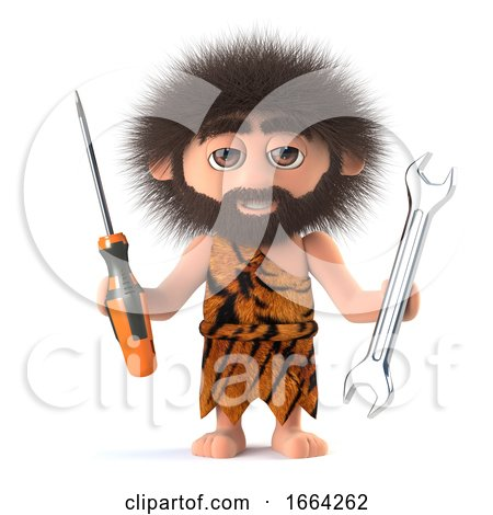 3d Funny Cartoon Primitive Caveman Has a Screwdriver and Spanner by Steve Young