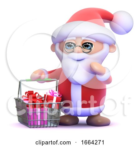3d Santa Goes Shopping by Steve Young