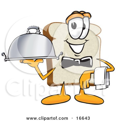 Clipart Picture of a Slice of White Bread Food Mascot Cartoon Character Serving a Dinner Platter While Waiting Tables by Toons4Biz