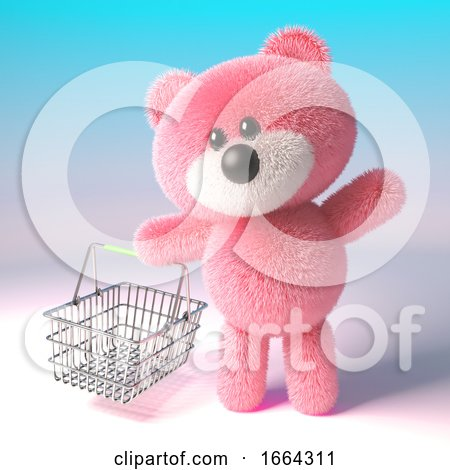 3d Teddy Bear Character with Pink Fur Carrying a Shopping Basket, 3d Illustration by Steve Young