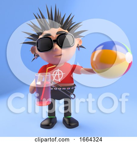 3d Punk Rock Character Drinking from a Glass and Holding a Beach Ball, 3d Illustration by Steve Young