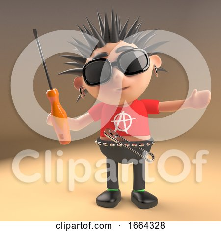 3d Punk Rocker Cartoon Character with Spikey Hair Holding a Screwdriver, 3d Illustration by Steve Young