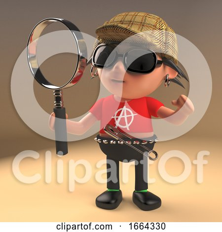 3d Cartoon Punk Rock Character Wearing a Deerstalker and Holding a Magnifying Glass like a Famous Detective, 3d Illustration by Steve Young