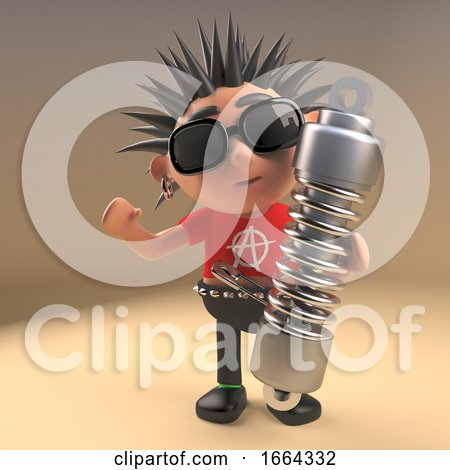 Cartoon 3d Punk Rocker Character Holding an Automobile Shock Absorber, 3d Illustration by Steve Young