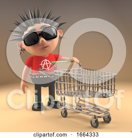 3d Punk Rock Cartoon Character Pushing a Shopping Trolley, 3d Illustration by Steve Young