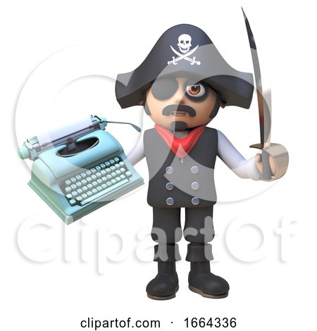 Pirate Captain Character in 3d Waves His Cutlass While Holding an Old Typewriter, 3d Illustration Posters, Art Prints