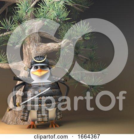 3d Penguin Samurai Warrior Character in Full Armour Standing Beneath a Bonsai Fir Tree, 3d Illustration by Steve Young