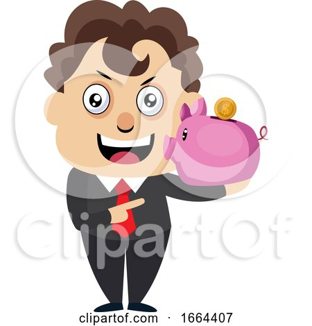 Young Business Man with Piggy Bank by Morphart Creations