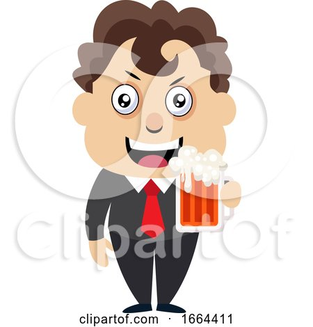Young Business Man Drinking Beer by Morphart Creations