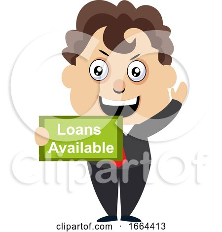 Young Business Man with Loans Available Sign by Morphart Creations