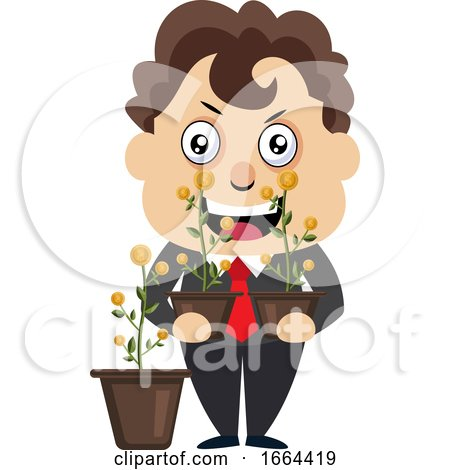 Young Business Man Holding Flowers by Morphart Creations