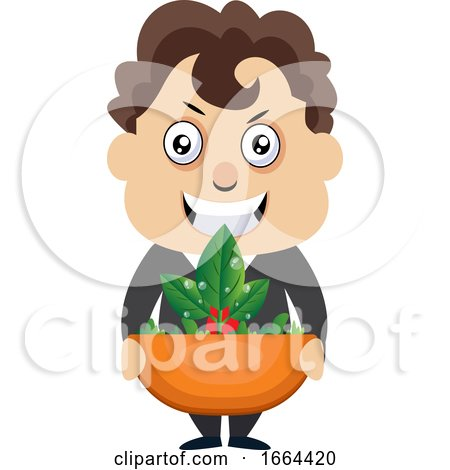 Young Business Man Holding Plant by Morphart Creations