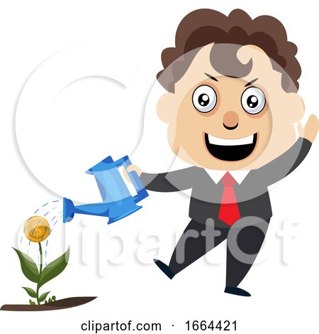 Young Business Man Watering Plant by Morphart Creations