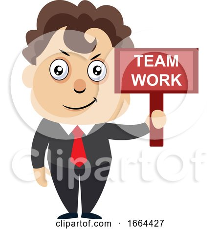 Young Business Man with Team Work Sign by Morphart Creations