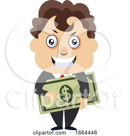 Young Business Man Holding Money by Morphart Creations