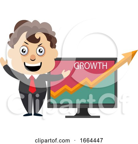 Young Business Man Showing Growth Analytics by Morphart Creations