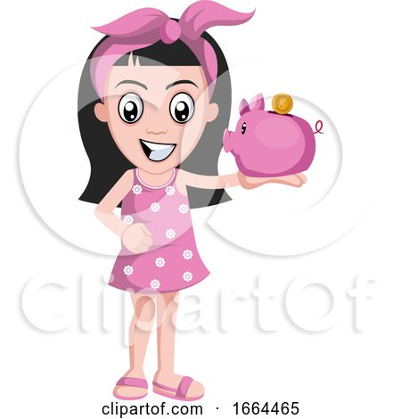 Girl with Piggy Bank by Morphart Creations