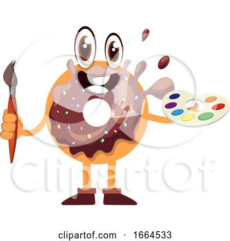 Donut Holding Paintbrush by Morphart Creations