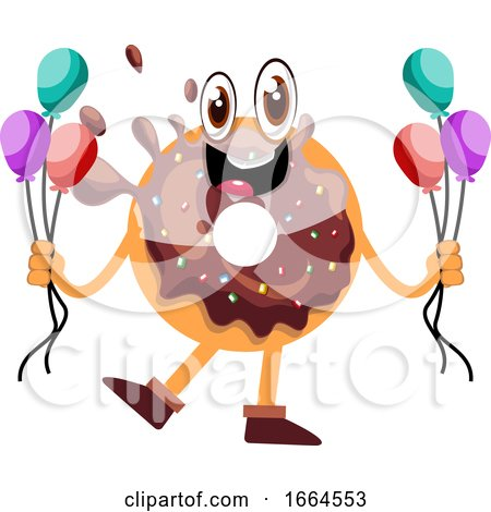 Donut Holding Balloons by Morphart Creations