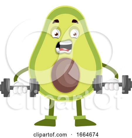 Avocado Lifting Weights by Morphart Creations