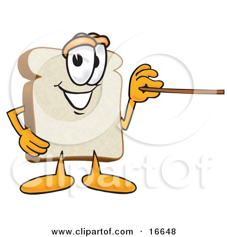 Clipart Picture of a Slice of White Bread Food Mascot Cartoon Character Using a Pointer Stick by Toons4Biz