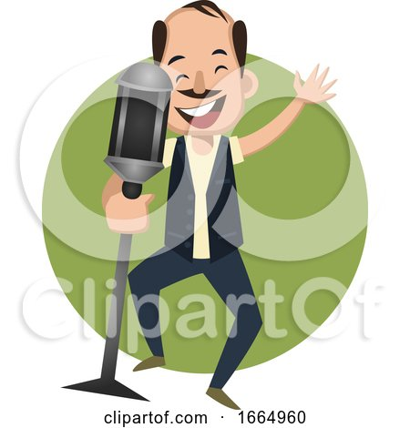 Man Singing on Microphone by Morphart Creations
