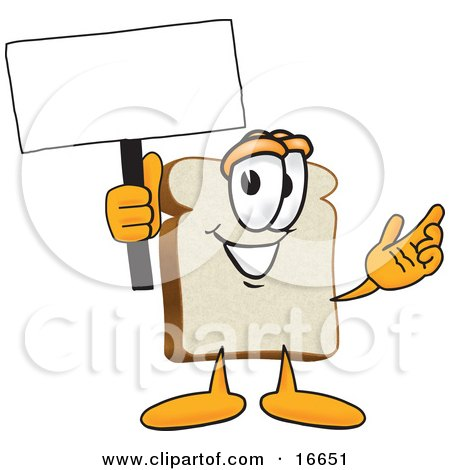 Clipart Picture of a Slice of White Bread Food Mascot Cartoon Character Waving a Blank White Advertising Sign by Toons4Biz