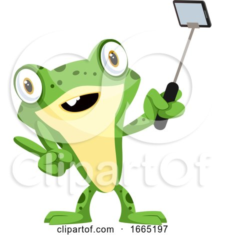 Cute, Smiling Baby Frog, Taking a Selfie with a Selfie Stick by Morphart Creations