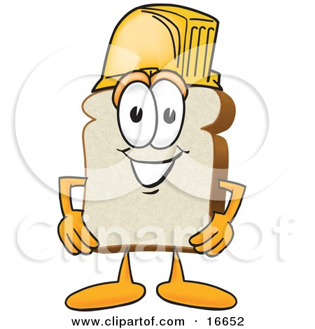 Clipart Picture of a Slice of White Bread Food Mascot Cartoon Character Wearing a Yellow Hardhat Helmet by Toons4Biz