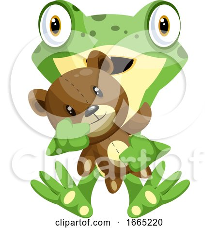 Green Frog Holding a Teddy Bear by Morphart Creations