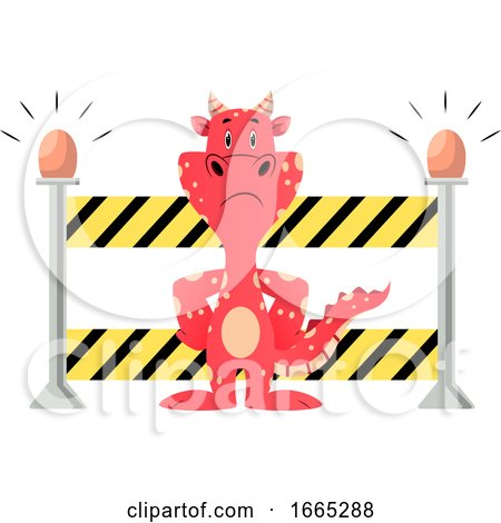 Red Dragon Is Showing Stop Road Closed by Morphart Creations