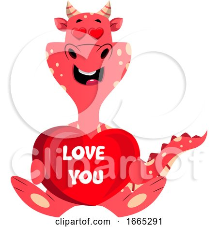 Red Dragon Is Holding I Love You Sign by Morphart Creations