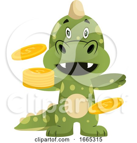Green Dragon Is Holding Coins by Morphart Creations