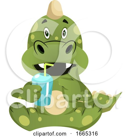 Green Dragon Is Drincing from Plastic Cup by Morphart Creations