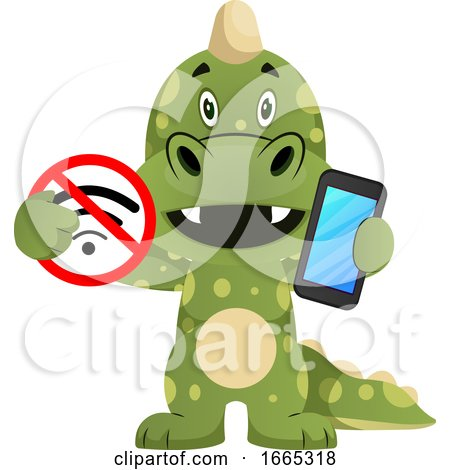 Green Dragon Is Holding No Wireless Sign and Mobile Phone by Morphart Creations