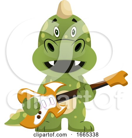 Green Dragon Is Playing Guitar by Morphart Creations