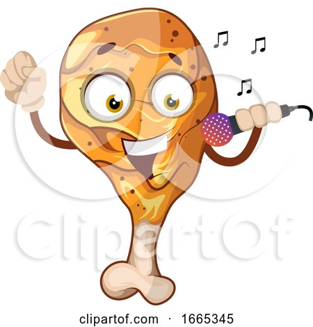 Fried Chicken Leg Singing on a Microphone Posters, Art Prints