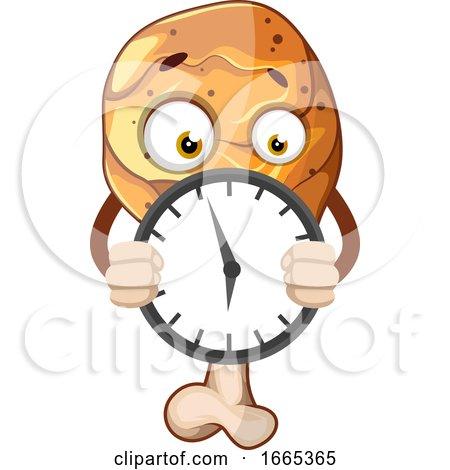 Fried Chicken Leg Holding a Clock Posters, Art Prints