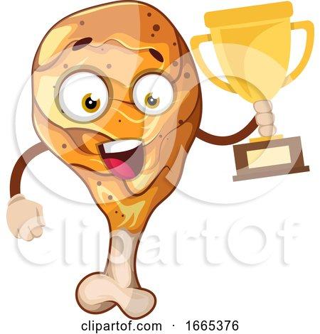 Joyful Chicken Leg Holding a Number One Trophy Posters, Art Prints